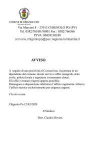 IL COMUNE INFORMA - CORONAVIRUS - AVVISO CHIUSURA UFFICI