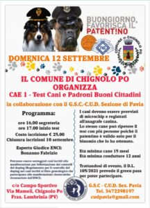 IL COMUNE DI CHIGNOLO PO ORGANIZZA: CAE 1 - TEST CANI E PADRONI BUONI CITTADINI (aggiornato in data 03/09/2021)
