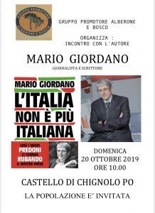 """il Gruppo promotore Alberone e Bosco organizza:""""Incontro con l'autore: Mario Giordano"""""""