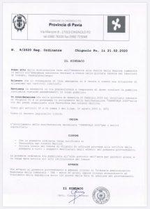 """Ordinanza di annullamento della manifestazione """"Carnevale 2020"""""""