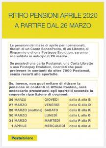 POSTE ITALIANE INFORMA - CORONAVIRUS - DATE E MODALITÀ RITIRO PENSIONI - MESE DI APRILE