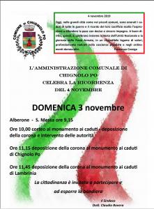 Celebrazioni per la ricorrenza del 4 novembre