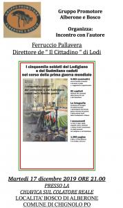 """il Gruppo promotore Alberone e Bosco organizza:""""Incontro con l'autore: Ferruccio Pallavera"""""""