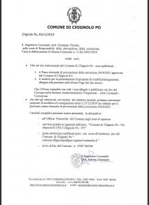 Avviso del Segretario Comunale in merito al Piano di Prevenzione della Corruzione 2019 – Modulo proposta di modifica