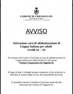 Attivazione corsi di alfabetizzazione di Lingua Italiana per adulti  Livelli A1 – A2