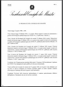 IL COMUNE INFORMA - CORONAVIRUS - COSA CAMBIA CON IL DPCM DEL 4 MARZO 2020 PUBBLICATO UFFICIALMENTE ALLE ORE 22.45