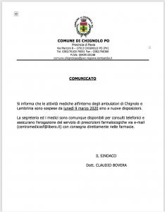 IL COMUNE INFORMA - CHIUSURA AMBULATORI MEDICI