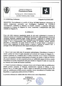 IL COMUNE INFORMA - CORONAVIRUS - ORDINANZA DEL SINDACO - CHIUSURA TRATTI DELLA PISTA CICLABILE AL TRANSITO VEICOLARE E PEDONALE