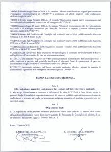 IL COMUNE INFORMA - ORDINANZA EMANATA DAL MINISTERO DELLA SALUTE E DAL MINISTERO DELL' INTERNO