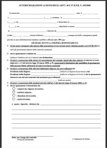 (aggiornato in data 03/05/2020) IL COMUNE INFORMA - CORONAVIRUS - MODULO DI AUTOCERTIFICAZIONE