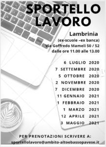 SPORTELLO LAVORO: AMBITO TERRITORIALE ALTO E BASSO PAVESE - (aggiornato con nuovo bollettino del 27 luglio 2020)