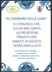 ANNULLATA PROIEZIONE DEL 29 AGOSO 2020 PER POSSIBILE MALTEMPO