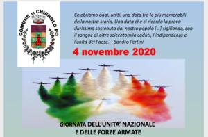 4 NOVEMBRE 2020 - GIORNATA DELL'UNITA' NAZIONALE E DELLE FORZE ARMATE
