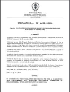 ORDINANZA DEL SINDACO - CHIUSURA TEMPORANEA DEL PLESSO SCOLASTICO DI CHIGNOLO PO