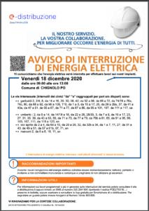AVVISO DI INTERRUZIONE DI ENERGIA ELETTRICA IN DATA 18/12/2020
