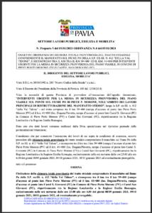 """ORDINANZA DI CHIUSURA TOTALE PROVVISORIA DEL TRATTO STRADALE COMPRENDENTE IL MANUFATTO SUL FIUME PO DELLA S.P. EX-SS. N. 412 """"DELLA VAL TIDONE"""""""