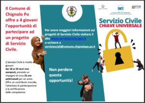 Il Comune di Chignolo Po offre a 4 giovani l'opportunità di partecipare ad un progetto di Servizio Civile