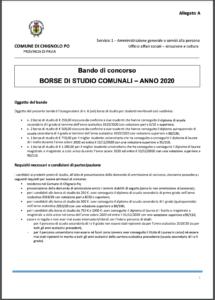 BANDO DI CONCORSO - BORSE  DI STUDIO COMUNALI 2020