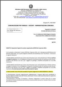 ISTITUTO COMPRENSIVO CHIGNOLO PO: COMUNICAZIONE URGENTE PER FAMIGLIE -DOCENTI- AMMINISTRAZIONI COMUNALI del 16.01.2021
