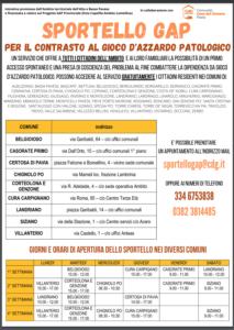 SPORTELLO GAP: PER IL CONTRASTO AL GIOCO D'AZZARDO PATOLOGICO (aggiornato il 14/06/21)