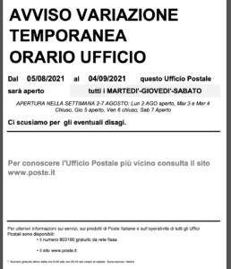 POSTE ITALIANE INFORMA: VARIAZIONE ORARIO DI APERTURA DELL'UFFICIO POSTALE DI LAMBRINIA NEL PERIODO ESTIVO