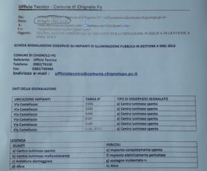 IL COMUNE INFORMA: disservizi all'illuminazione pubblica di Lambrinia - in Via Castellazzo