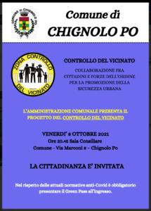 L'AMMINISTRAZIONE COMUNALE PRESENTA IL PROGETTO DEL CONTROLLO DEL VICINATO - 8 OTTOBRE 2021