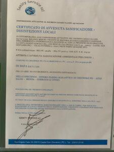 SANIFICAZIONE DEL PLESSO SCOLASTICO IN DATA 22 NOVEMBRE 2020