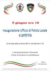 POLIZIA LOCALE INFO: INAUGURATO IL PRESIDIO DI LAMBRINIA (aggiornato al 5/6/21)